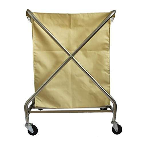 GUOCAO Trolley de Compras, Plegable laundrys Comercial Clasificador Organizador Carrito con Ruedas, for Trabajo Pesado de Hotel Carrito de lavandería Cesto con extraíbles Bolsas (Color: Amarillo)