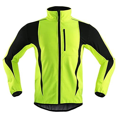 TDHLW Cortavientos Térmico Chaqueta Ciclismo Invierno Mujer Hombre Polar Softshell Chaqueta Impermeable y Transpirable Chaqueta de Bici Cálida Reflectante a Vento Abrigo,Verde,XXL