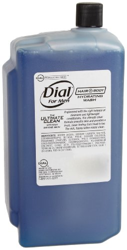 Dial 930356 Hair and Body Hydrating Wash for Men, 1L Refill Cartridge (Pack of 8)