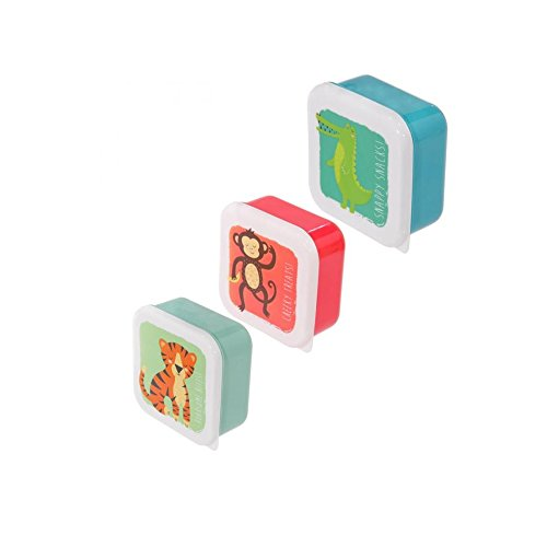 Set da 3 scatole scatoline portapranzo porta pranzo per bambini design Animali dello zoo