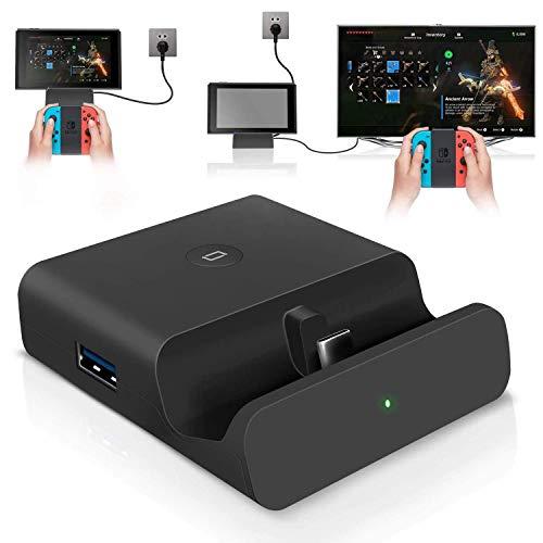 Base De Carga para Interruptor De Nintendo, Adaptador USB C a HDMI Compatible con Modo TV y Modo De Consola, Compatible con Interruptor 4K / 1080P, Soporte De Cargador USB 3.0 para Interruptor