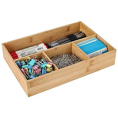 TQVAI Natural Bamboo Desktop Supplies Organizer 4 Compartment Storage Tray