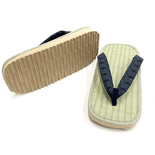 Aiai JAPAN Igusa Setta Japanische Tatami Zouri Sandalen Flip-Flops Kostüm Haus Hof Kendo [Made in Japan], Blau (Welle (seigaiha)), 45/46 EU
