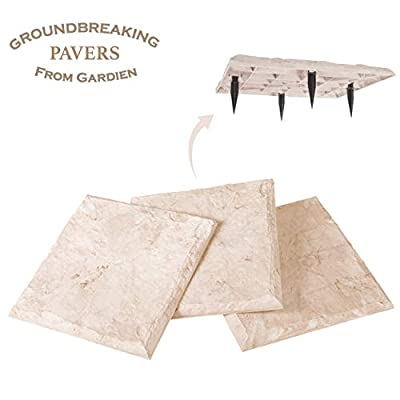 "15.5"" Groundbreaking Stepping Stones - Natural Limestone Look - Securely Steak Into The Ground! - All Weather Decorative Home or Garden Stones (8)"