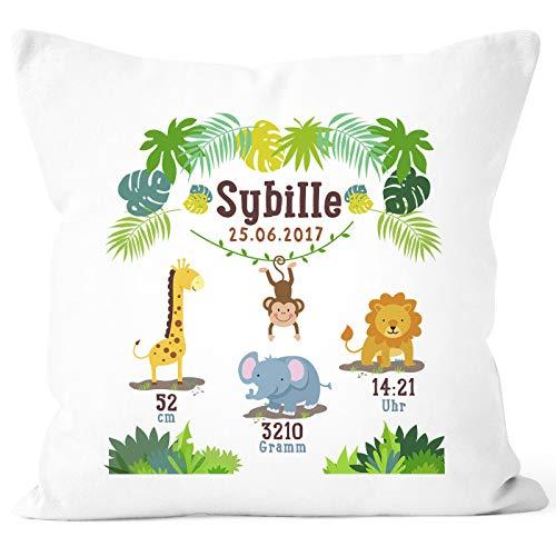 SpecialMe® Geburtskissen Dschungel Safari Löwe Elefant Giraffe Namenskissen personalisierbares Kissen zur Geburt Junge Mädchen, Kissen-Bezug ohne Füllung weiß Unisize