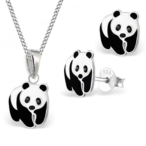 GH* KIDS Pandabär ANHÄNGER + KETTE + OHRSTECKER 925 Echt Silber Kinder Mädchen Panda Ohrringe (38)