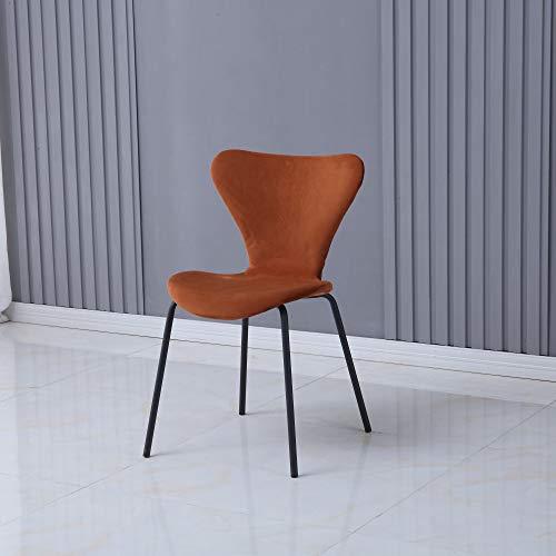 ARONA - Juego de 2 sillas de comedor de terciopelo con patas de metal doradas, plata/negro (patas naranjas, negras)