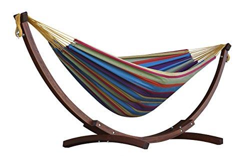 Vivere C8SPCT-20 Doppelhängematte aus Baumwolle mit stabilem Bogengestell aus Massivkiefernholz – Tropical