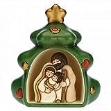 THUN - Mini Presepe Completo in Albero di Natale - Decorazioni Natale Casa - Linea Presepe Classico - Ceramica - 23 h cm