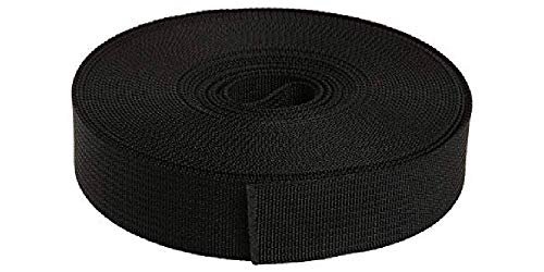 Strapworks Military Spec Flat Nylon Webbing – MilSpec 17338 Strap for Slings, Backpack Straps, Tactical Projects – Made in The USA, 1 Inch x 10 Yards, Black