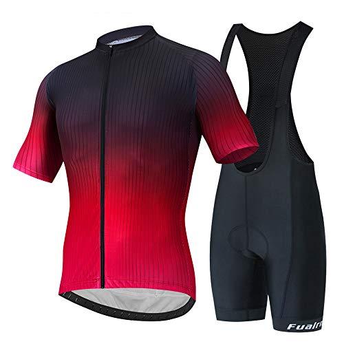 JINFAN Jerseys De Ciclismo para Hombre Trajes De Ciclismo De Manga Corta con Conjunto De Ropa Deportiva Al Aire Libre Acolchado con Gel 3D,Strap-Suit-Red-XXL