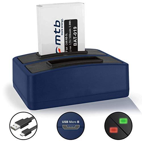 Batteria + Caricabatteria doppio (USB) per Canon NB-5L / IXUS 850 IS, 860 IS… / Powershot S110 (2012), SX200 IS, SX210 IS, SX220 HS, SX230 HS .v. lista