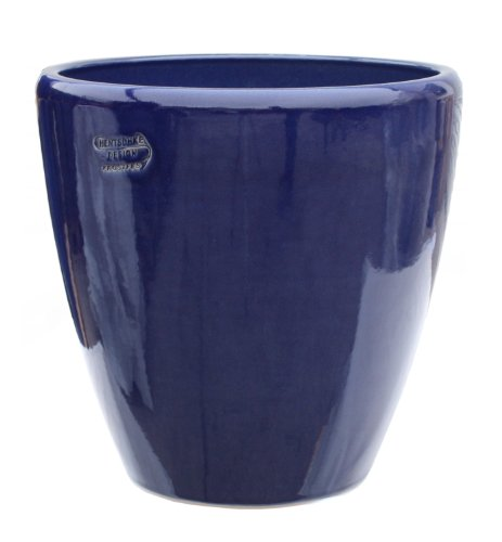 Hentschke Keramik Pflanztopf/Pflanzkübel frostsicher Ø 40 x 40 cm, Effekt blau, 029.040.64 Blumenkübel für Draußen + Innen - Made in Germany