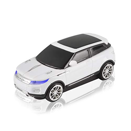 3C Light Car Mouse Wireless 2.4GHz Cool Sport SUV Car Shape Mouse Optical Mice 1600 DPI with USB Receiver Suitable for PC/Computer/Laptop (White)