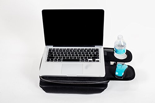Laptop Bag Convertible LapDesk - Computer Bag Doubles as a Lap Table with a Cup Holder or Bottle - 2 Trays to Store Snacks, Gadgets, as Mouse Pad 14-Inch TaboLap Black Neoprene Travel Desk Case