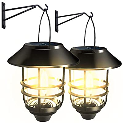 SEFON Solar Lantern Lights Outdoor, Hanging Solar Sconce Waterproof Lights, Porch Lights Solar Powered Fixture with Wall Mount Kit Led Light, for Porch, Patio, Yard, Walkways, 2 Pack