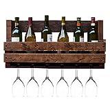 Botelleros de estilo clásico Estante de vino de madera maciza Nordic Vintage, Estante de vidrio de vino for colgar en la pared, Hogar, Estante de copas, Restaurante bar Enfriador de vino Estante de al