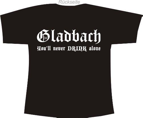 Gladbach - You'll Never Drink Alone; Polo-Shirt schwarz, Gr. L