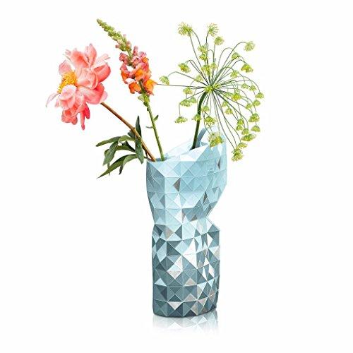 Papier Vase, Papiervase Grauvariationen mit Silbersegmenten, groß
