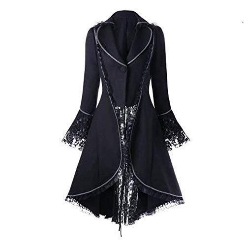 Keepmove 2019 Winter Tops for Women Steampunk Victorian Swallow Tail Long Trench Coat Jacket Thin Outwear