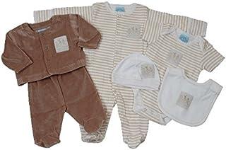 cc5674146203d KING BEAR Boîte cadeau naissance 6 pièces comprenant 1 pyjama en 100% coton  + une tenue 2 pièces en velours tout doux + 1 body en coton + 1 bavoir 100%  ...