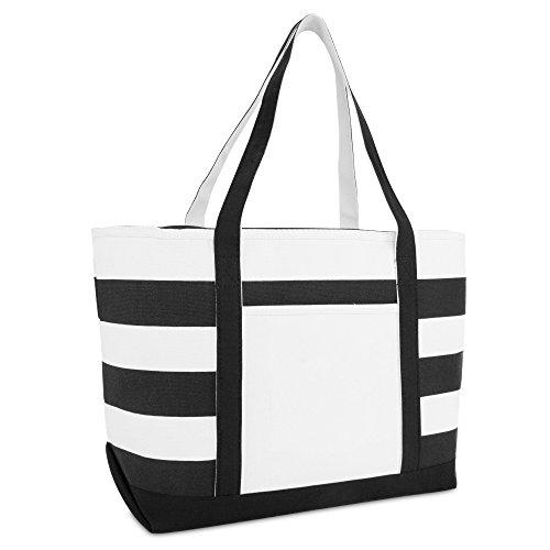 DALIX Striped Boat Bag Premium Cotton Canvas Tote in Black
