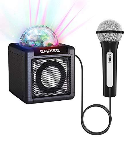 EARISE T12 Kinder-Karaoke-Maschine mit Mikrofon, drahtloser Karaoke-Mikrofon Bluetooth-Lautsprecher für Mädchen und Jungen ab 3 Jahren, LED-Disco-Lichtkugel, AUX-in