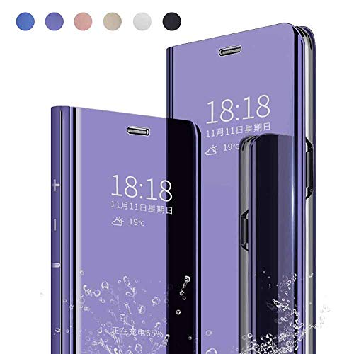 Yutwo Funda Reemplazo para Samsung Galaxy Note 9 Funda, PC Hard Case Flip Tapa Libro Carcasa Modelo Fecha Espejo Brillante tirón del Duro Case Espejo Soporte Plegable Reflectante - Morado