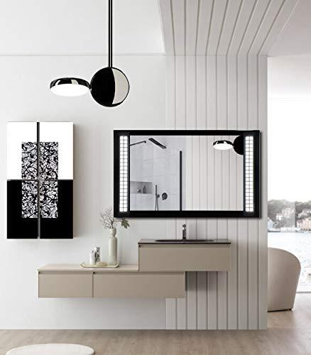 BF Mirror - Espejo retroiluminado con marco de cristal templado lacado, diseño geométrico arenado