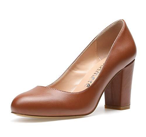 CASTAMERE Zapatos de Tacón Mujer Punta Redonda Tacón Ancho 8CM Tacón PU Marrón Zapatos EU 35