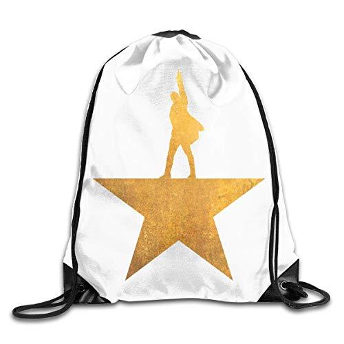JHUIK Drawstring Bag Backpack,Hamilton The Musical Fashion Sac à Dos Design épaule Sac à Cordon Homme Femme Sacs Blanc Taille Unique