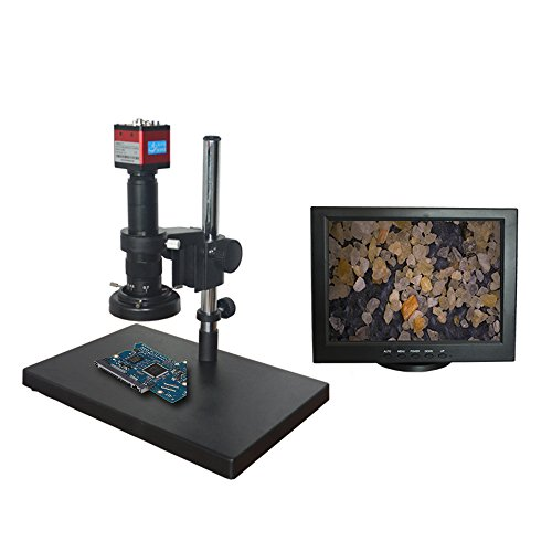 BaoMic AO-131RD Digital Industry Video Monocular Microscope Camera Magnification 10~200X,Zoom Objective 0.7X-4.5X,LED Lights,12 inch Monitor,Sony Photosensitive Chip,60FPS Image Display