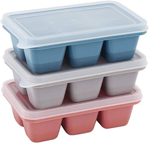Theone 3 Packs Eiswürfelschale, leicht zu lösende Silikoneisformen mit abnehmbaren Deckeln, perfekt für Getränke, Gefrierschrank, , Whisky und Cocktail, LFGB-zertifiziert und BPA-frei (Rot+Grau+Blau)