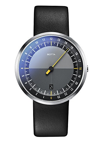 Botta-Design UNO 24 Armbanduhr - 24H Einzeigeruhr, Edelstahl, schwarzes Zifferblatt, Saphirglas Antireflex, Lederband