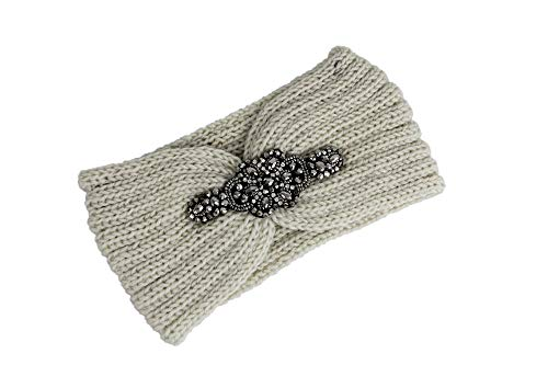 irisaa Damen Stirnband mit Strass gestrickt Kopfband Haarband Ohrenwärmer, stirnband, Beige, 22
