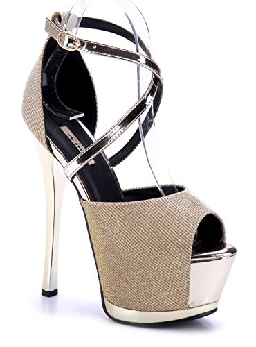 Schuhtempel24 Damen Schuhe Plateausandaletten Sandalen Sandaletten Gold Stiletto Glitzer 17 cm High Heels