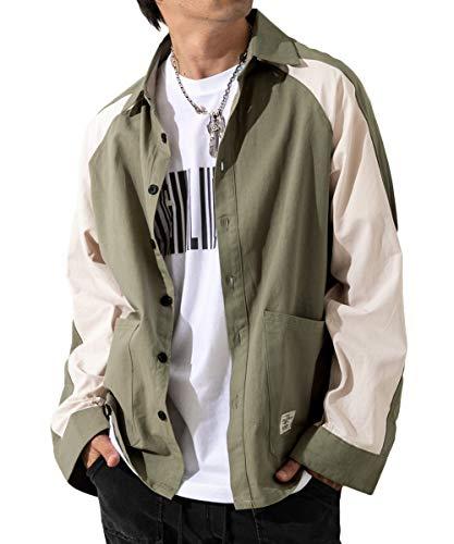 [メリュエル] 7カラー M~2XL 春秋 ビックシルエット シャツ 長袖 カジュアル シャツジャケット 上着 アウター メンズ (XL, カーキ (ラインデザイン))