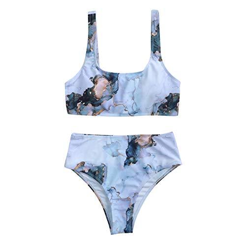 Tie Dye Mujeres Rayas Push Up Corte Alto Cintura Alta Halter Bikini Set Impresión de Dos Piezas Traje de baño Sexy de Verano