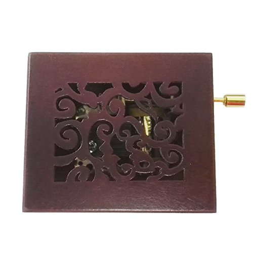 FnLy - Caja musical de madera con manivela grabada, 18 notas, con movimiento chapado en oro, caja de regalo de música, We Wish You a Merry Christmas