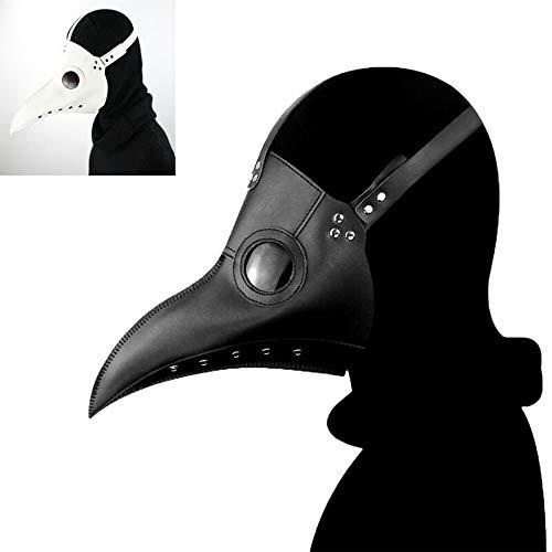 Mscara de mdico de la plaga para Halloween, disfraz de steampunk, gtico, cosplay retro, de cuero, mscara de pjaro, color negro (30 cm x 25 cm)