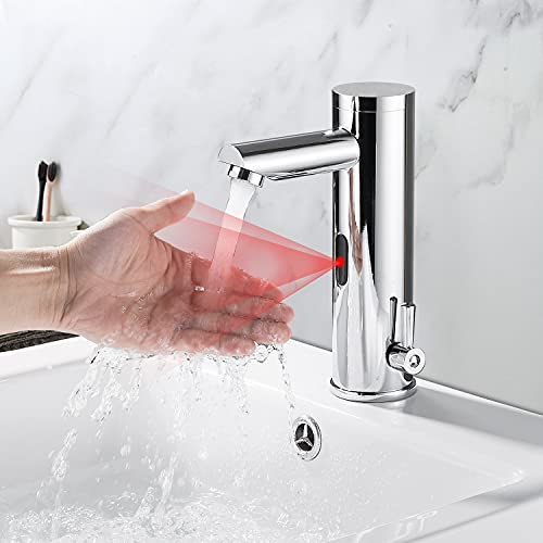 Grifos con Sensor,Grifo Lavabo con Sensor,Automatico Grifos de lavabo,limitador Ajustable de Temperatura, Cromo