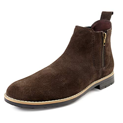 Bacca Bucci® Original Chelsea high end Urban Fashion Brewster Slip-on Boots Genuine Smooth Leather Suede for Men Brown