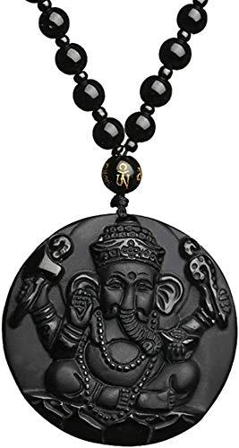 Pumry obsidiana colgante elefante Dios collar con collar de perlas 52-72 cm amuleto de cristal curativo para mujeres y hombres