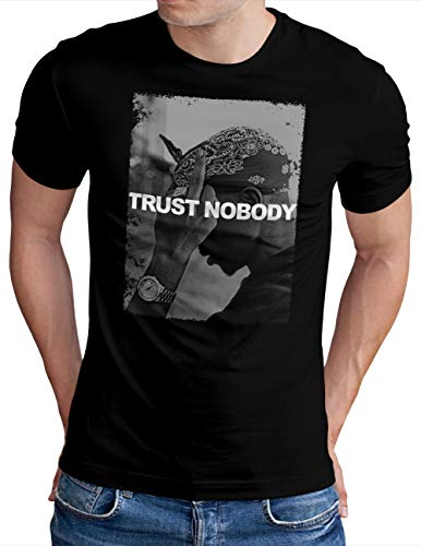 OM3® Trust-Nobody T-Shirt | Herren | Tupac Shakur Hip Hop Legend King of Rap Slogan | Schwarz, L