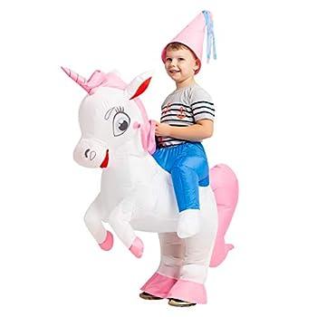 GOOSH 55 INCH Inflatable Costume for Kids Halloween Costumes Boys Girls Unicorn Rider Blow Up Costume for Unisex Godzilla Toy