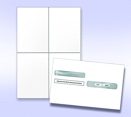 """W-2 and 1099-R Forms Blank Paper 4-Up Version""""NO Instructions on Back"""" with Envelopes"""