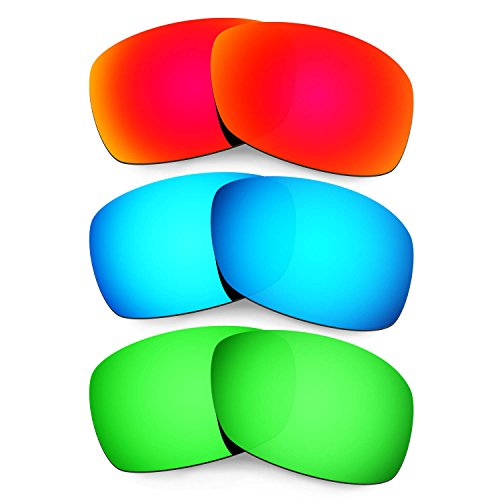 Hkuco Plus Mens Replacement Lenses For Oakley Hijinx Red/Blue/Emerald Green Sunglasses