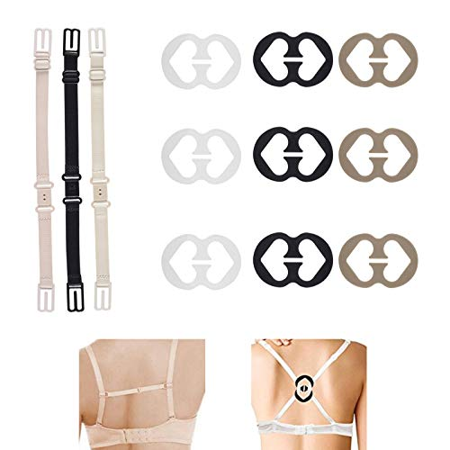 Joojus 3 Pieces Bra Strap Clips Elastic Adjustable Non-Slip Strap Holder, 9 Pieces Bra Clips,12 Pcs Bra Strap Clips Set