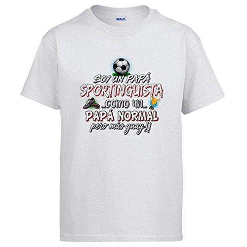 Camiseta Soy un papá Sportinguista como un papá Normal Pero más Guay - Blanco, XL