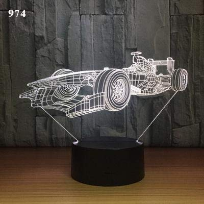 Cool Fashion Luxury Sports car Speed ​​Racing F1 Tracción en las cuatro ruedas Vintage Concept car 3D LED Night Light lámpara de mesa Decoración del hogar Regalo para niños